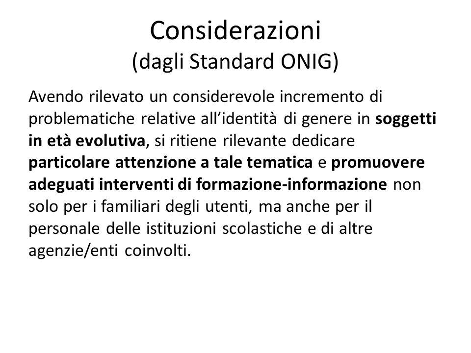 Considerazioni (dagli Standard ONIG)