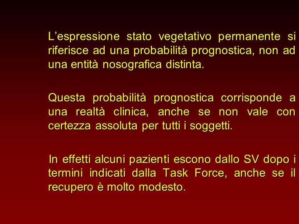L'espressione stato vegetativo permanente si riferisce ad una probabilità prognostica, non ad una entità nosografica distinta.