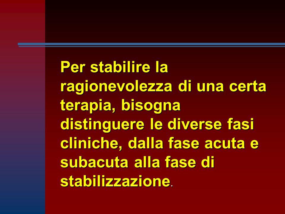 Per stabilire la ragionevolezza di una certa terapia, bisogna distinguere le diverse fasi cliniche, dalla fase acuta e subacuta alla fase di stabilizzazione.