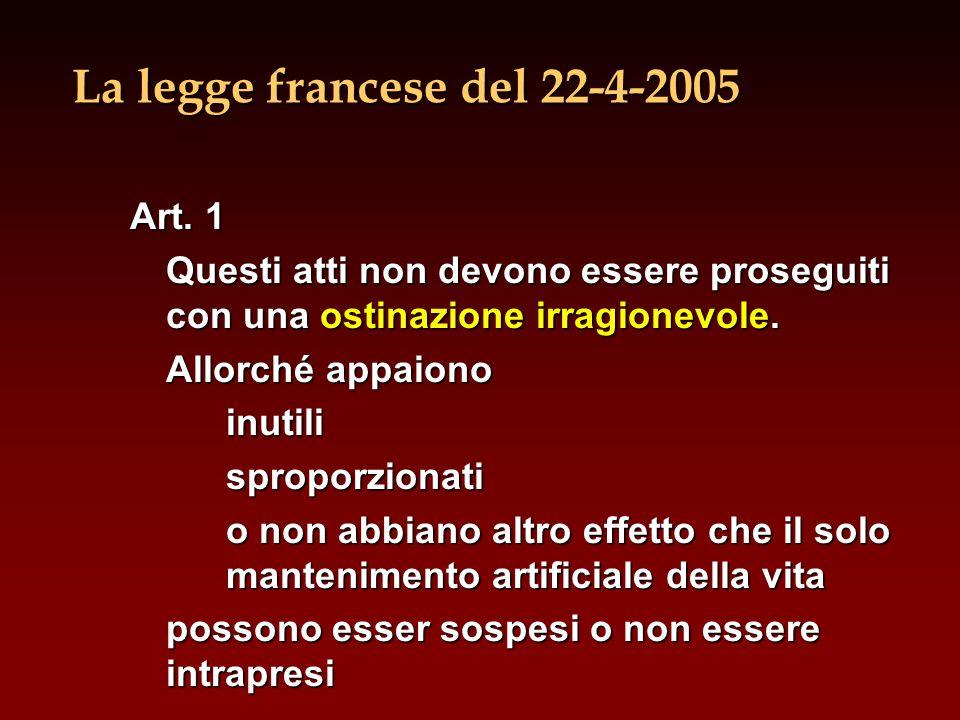 La legge francese del 22-4-2005