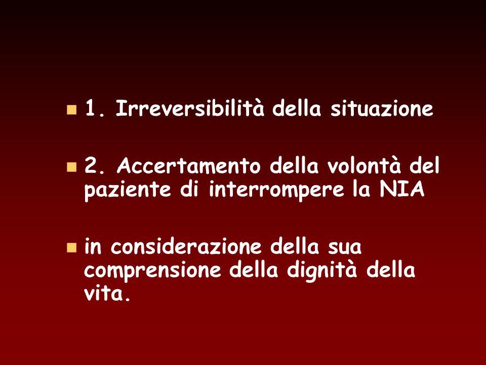 1. Irreversibilità della situazione