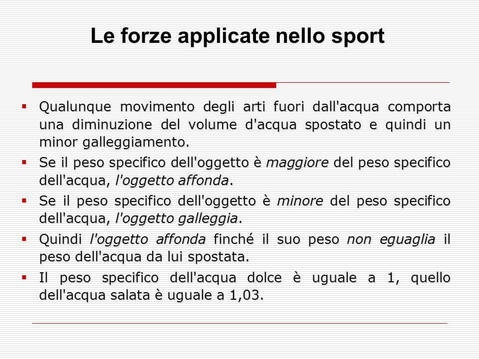 Le forze applicate nello sport