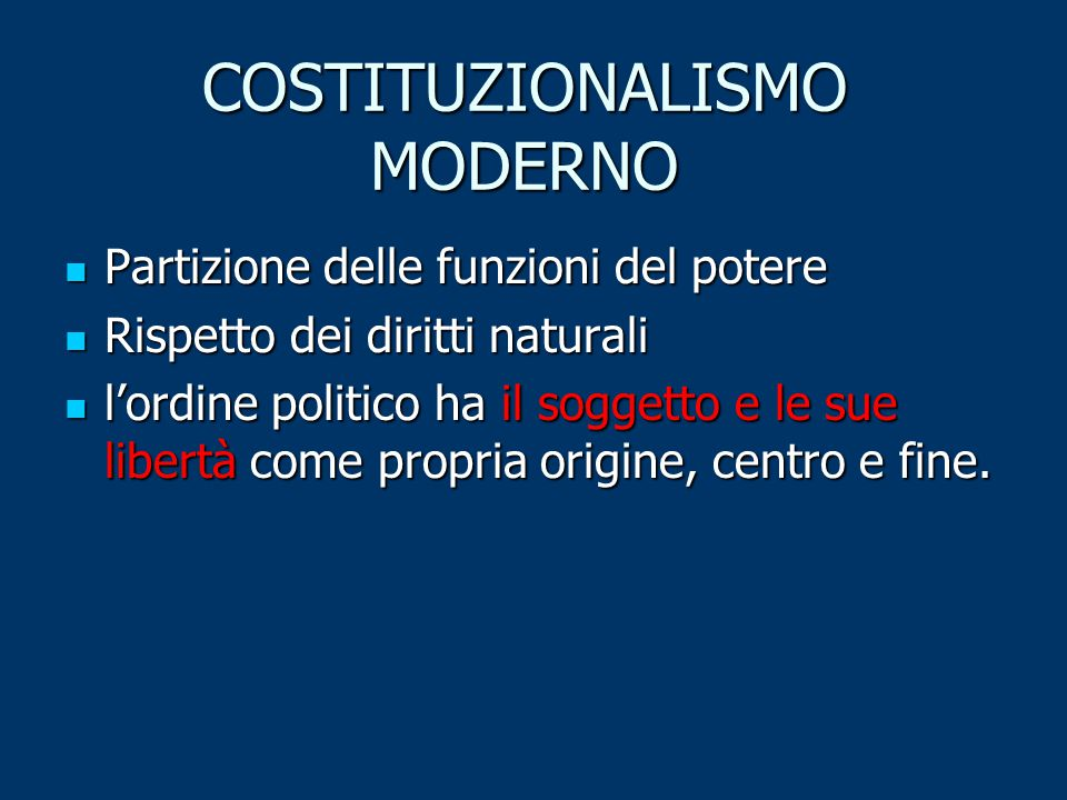 COSTITUZIONALISMO MODERNO