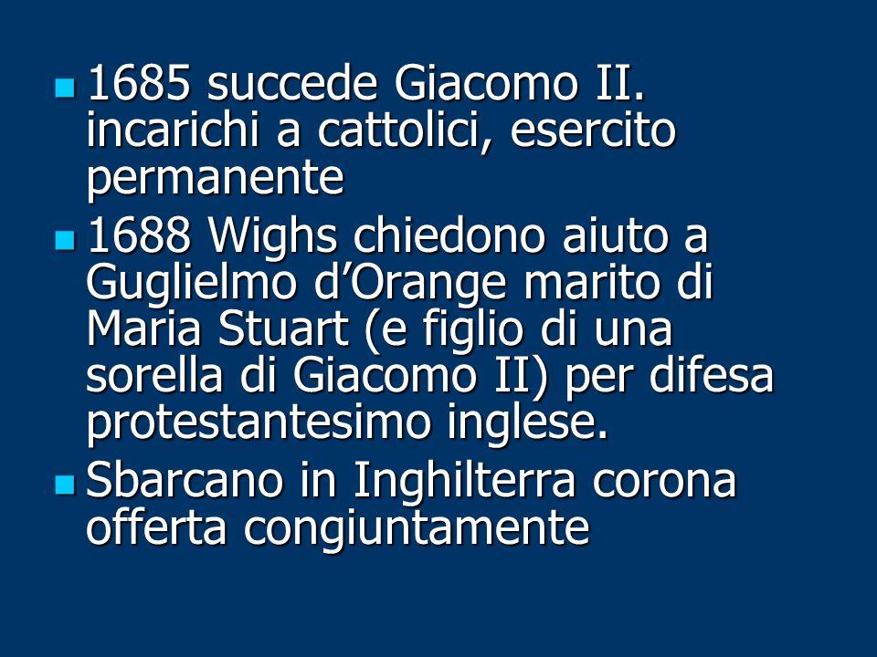 1685 succede Giacomo II. incarichi a cattolici, esercito permanente