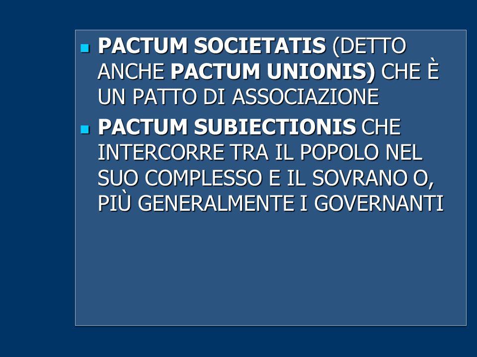 PACTUM SOCIETATIS (DETTO ANCHE PACTUM UNIONIS) CHE È UN PATTO DI ASSOCIAZIONE
