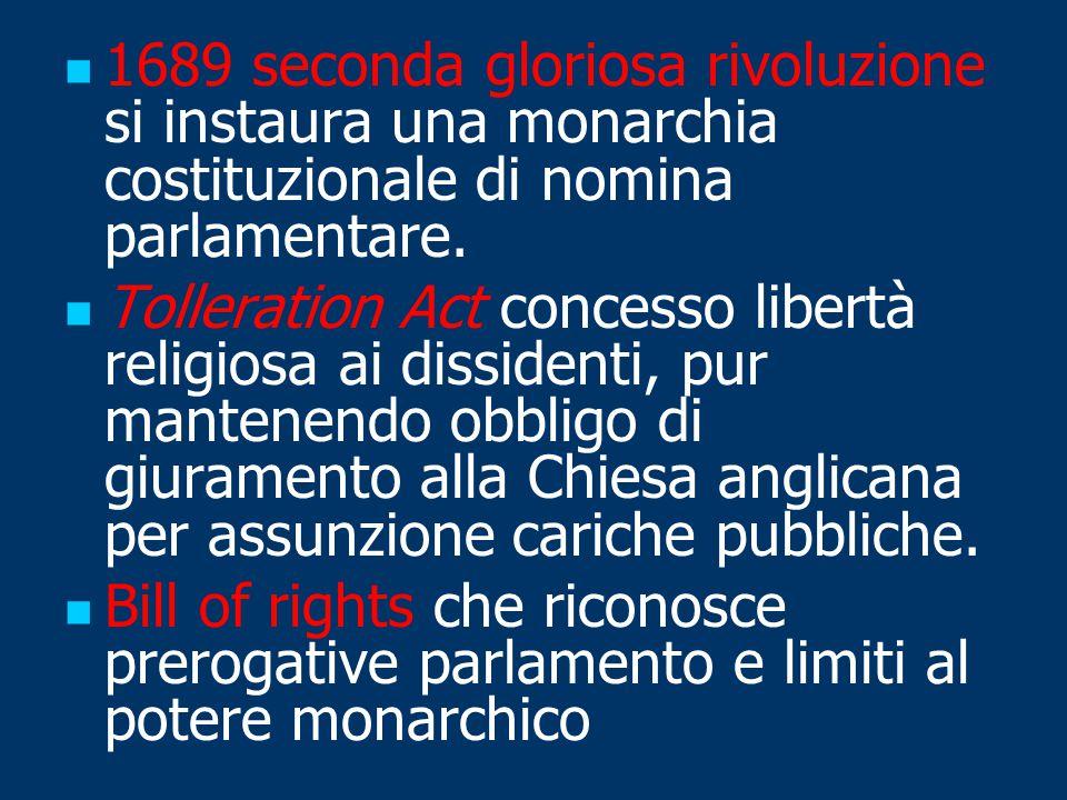 1689 seconda gloriosa rivoluzione si instaura una monarchia costituzionale di nomina parlamentare.