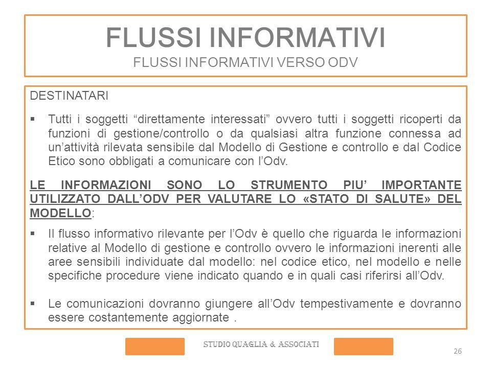 FLUSSI INFORMATIVI FLUSSI INFORMATIVI VERSO ODV
