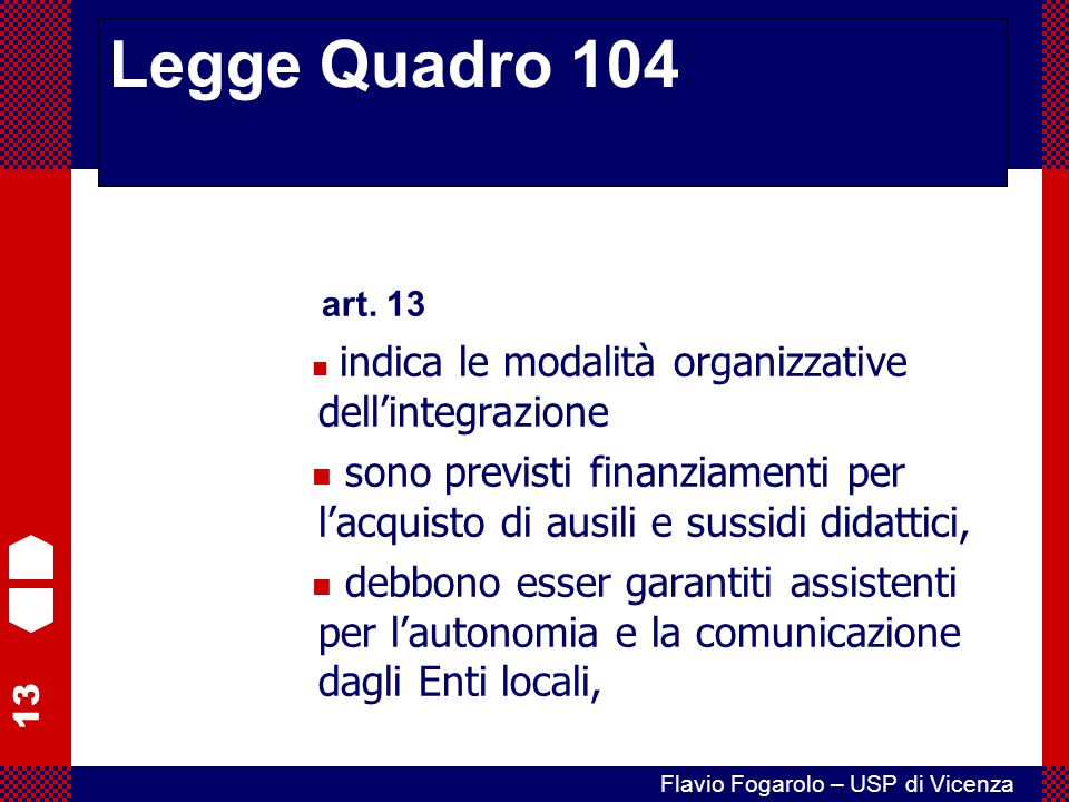 Legge Quadro 104 art. 13. indica le modalità organizzative dell'integrazione.