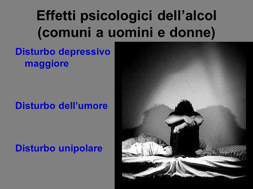 Effetti psicologici dell'alcol (comuni a uomini e donne)