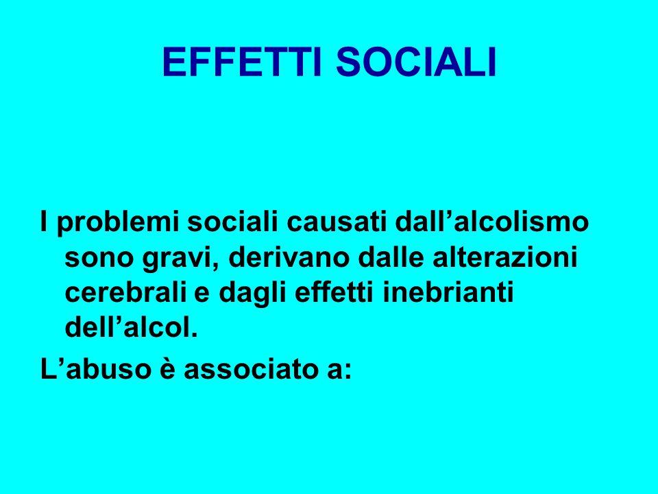 EFFETTI SOCIALI I problemi sociali causati dall'alcolismo sono gravi, derivano dalle alterazioni cerebrali e dagli effetti inebrianti dell'alcol.