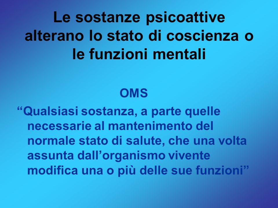 Le sostanze psicoattive alterano lo stato di coscienza o le funzioni mentali