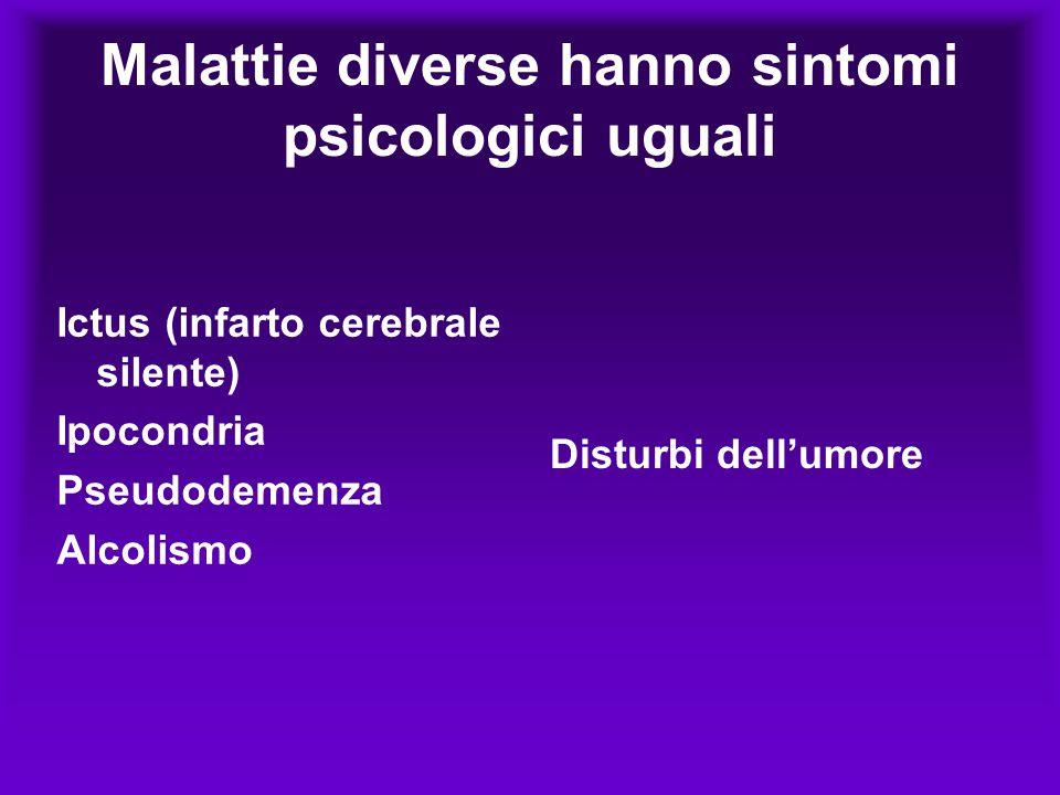 Malattie diverse hanno sintomi psicologici uguali