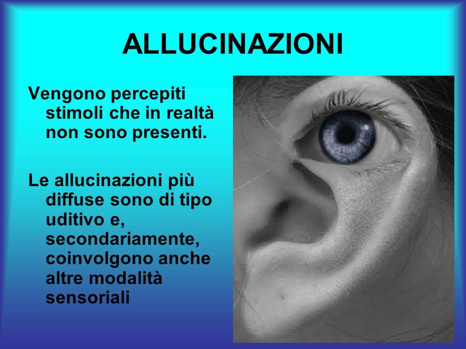 ALLUCINAZIONI Vengono percepiti stimoli che in realtà non sono presenti.