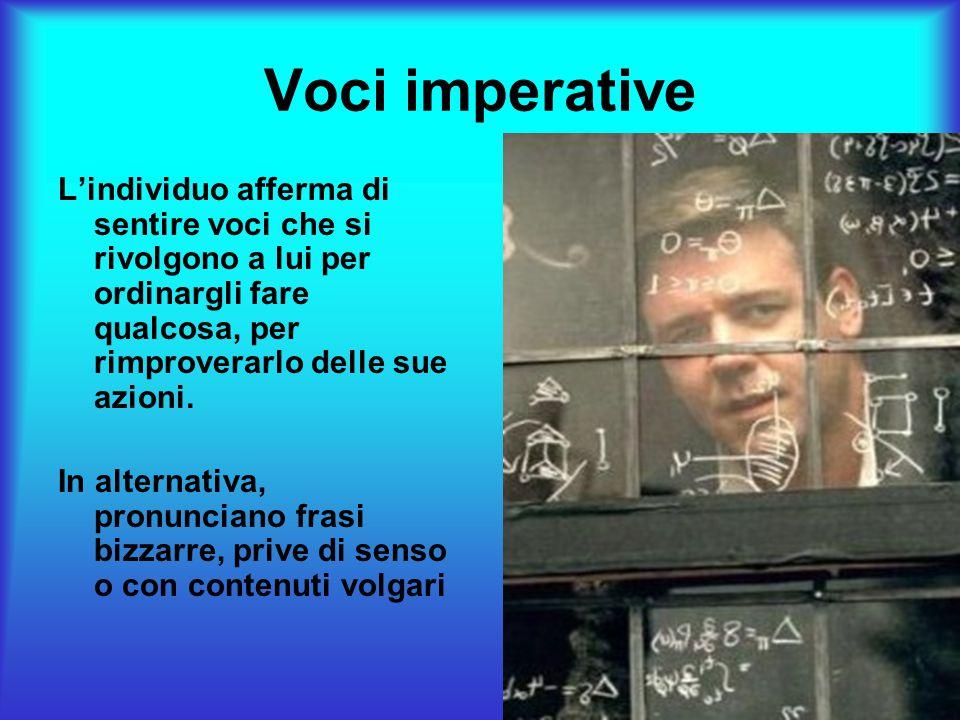 Voci imperative L'individuo afferma di sentire voci che si rivolgono a lui per ordinargli fare qualcosa, per rimproverarlo delle sue azioni.