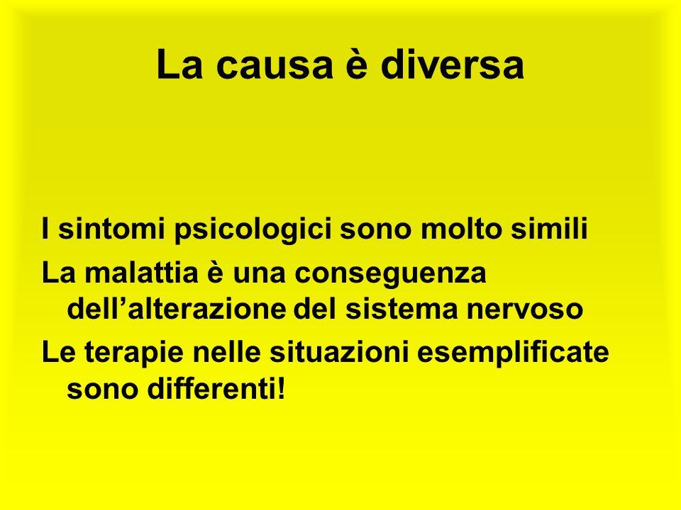 La causa è diversa I sintomi psicologici sono molto simili