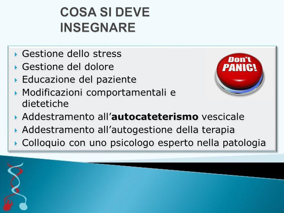 COSA SI DEVE INSEGNARE Gestione dello stress Gestione del dolore
