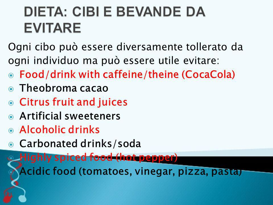 DIETA: CIBI E BEVANDE DA EVITARE