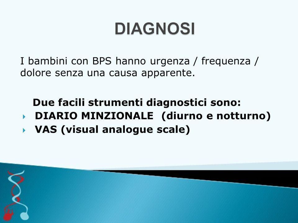 DIAGNOSI I bambini con BPS hanno urgenza / frequenza / dolore senza una causa apparente. Due facili strumenti diagnostici sono: