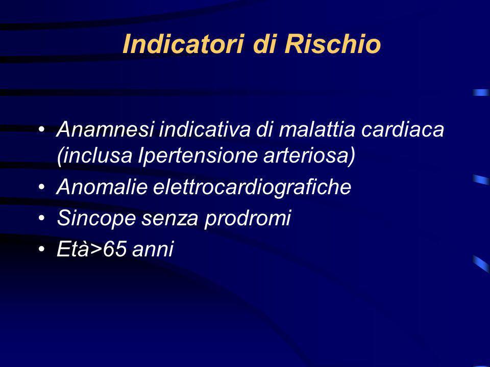 Indicatori di Rischio Anamnesi indicativa di malattia cardiaca (inclusa Ipertensione arteriosa) Anomalie elettrocardiografiche.