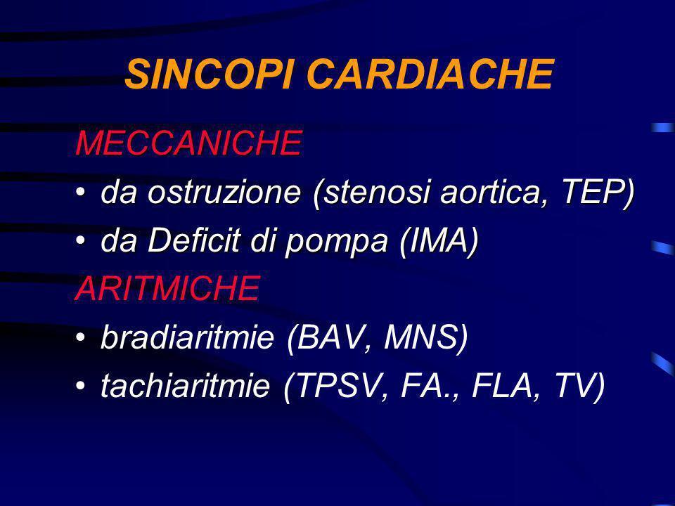 SINCOPI CARDIACHE MECCANICHE da ostruzione (stenosi aortica, TEP)