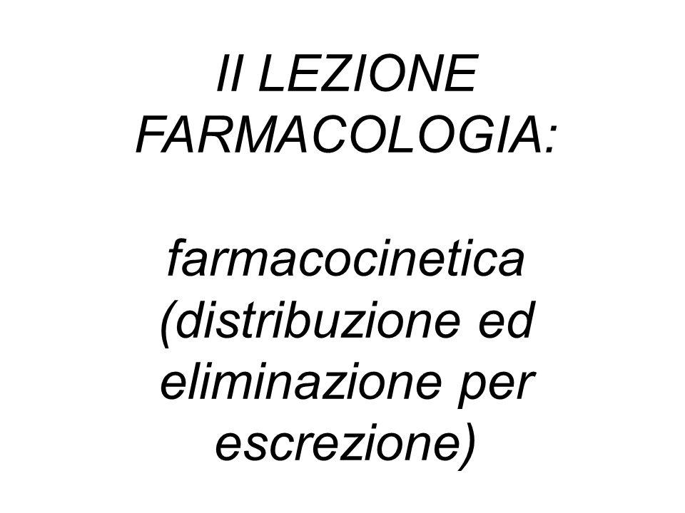 II LEZIONE FARMACOLOGIA: farmacocinetica (distribuzione ed eliminazione per escrezione)