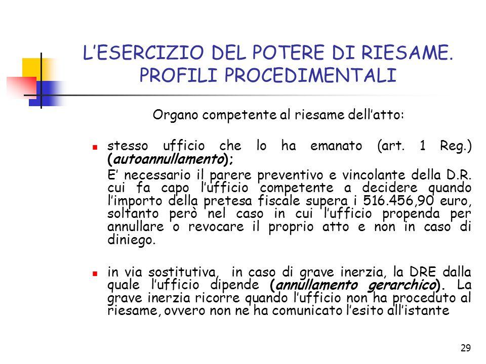 L'ESERCIZIO DEL POTERE DI RIESAME. PROFILI PROCEDIMENTALI
