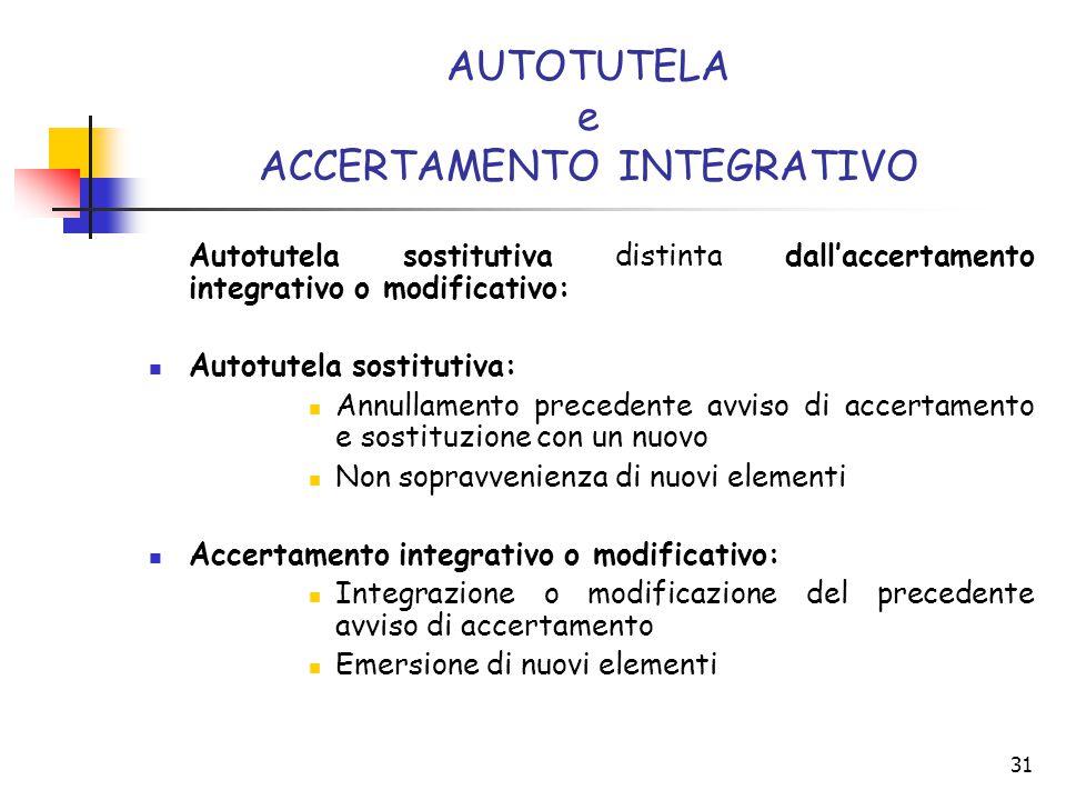 AUTOTUTELA e ACCERTAMENTO INTEGRATIVO