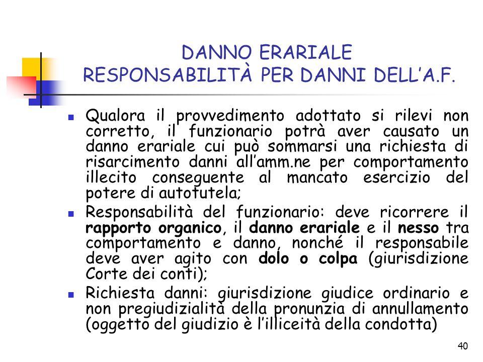 DANNO ERARIALE RESPONSABILITÀ PER DANNI DELL'A.F.