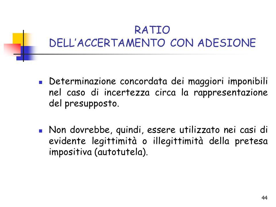 RATIO DELL'ACCERTAMENTO CON ADESIONE