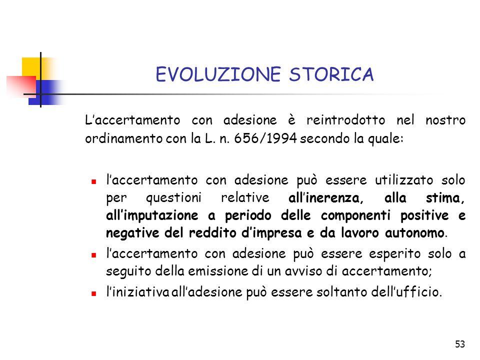 EVOLUZIONE STORICA L'accertamento con adesione è reintrodotto nel nostro ordinamento con la L. n. 656/1994 secondo la quale: