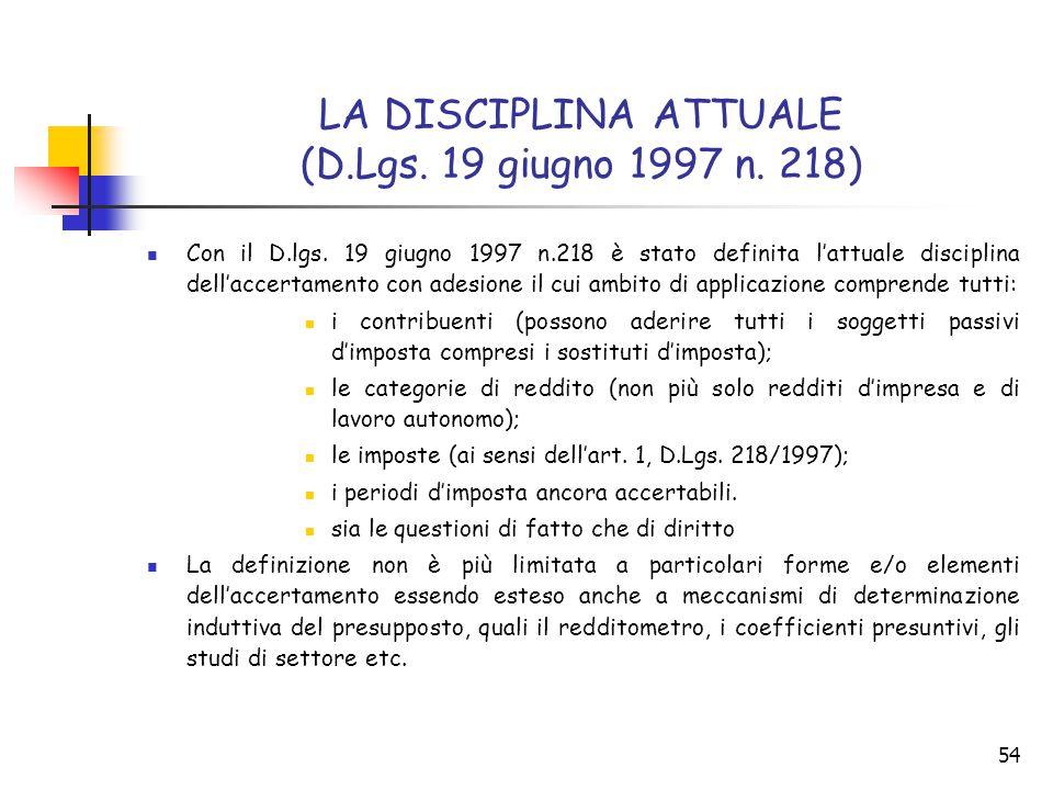 LA DISCIPLINA ATTUALE (D.Lgs. 19 giugno 1997 n. 218)