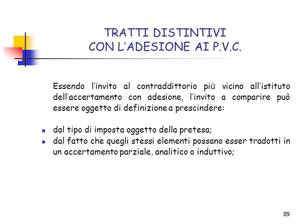TRATTI DISTINTIVI CON L'ADESIONE AI P.V.C.