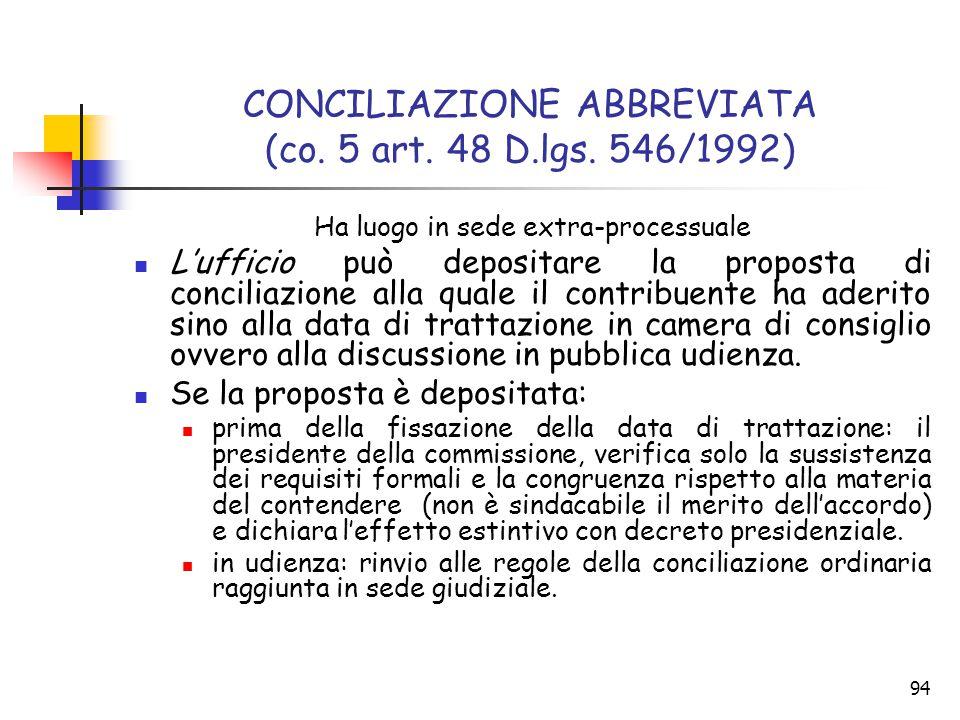 CONCILIAZIONE ABBREVIATA (co. 5 art. 48 D.lgs. 546/1992)