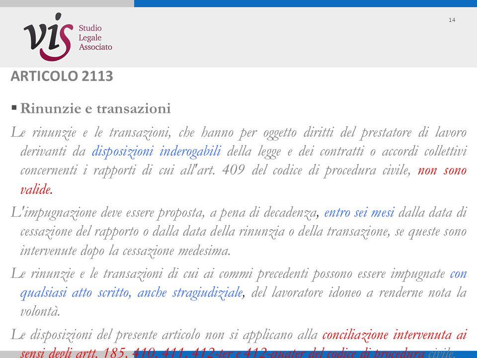 ARTICOLO 2113 Rinunzie e transazioni.