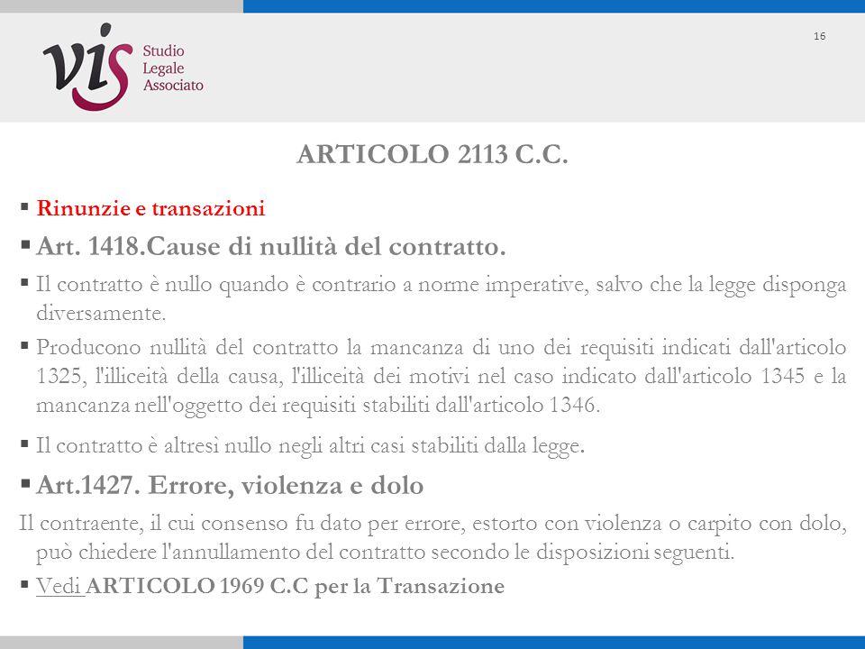 Art. 1418.Cause di nullità del contratto.