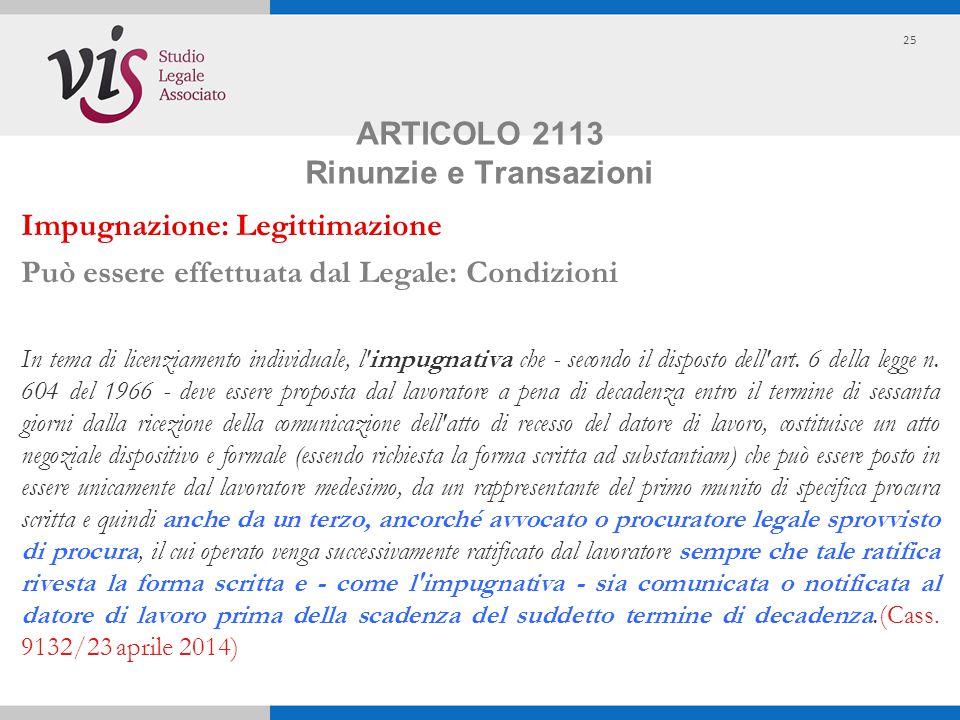 ARTICOLO 2113 Rinunzie e Transazioni
