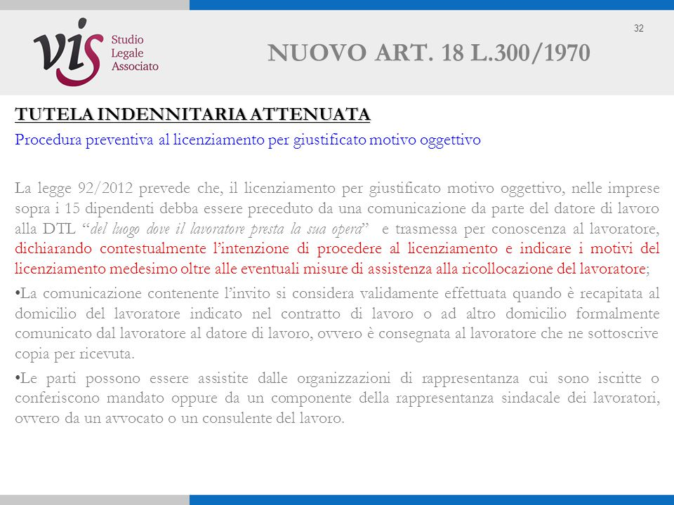 NUOVO ART. 18 L.300/1970 TUTELA INDENNITARIA ATTENUATA