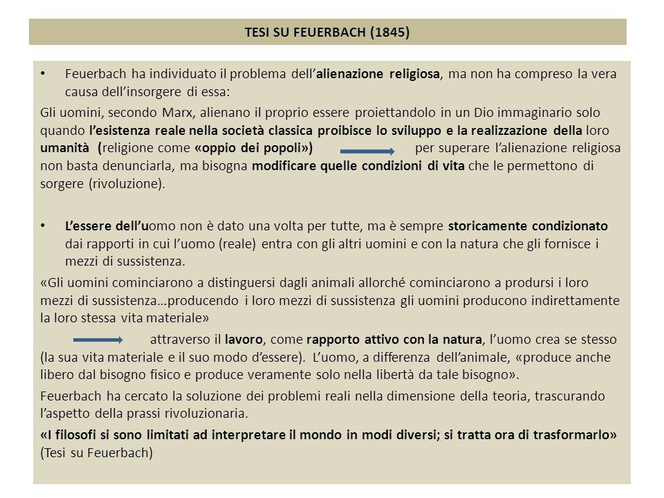 TESI SU FEUERBACH (1845) Feuerbach ha individuato il problema dell'alienazione religiosa, ma non ha compreso la vera causa dell'insorgere di essa:
