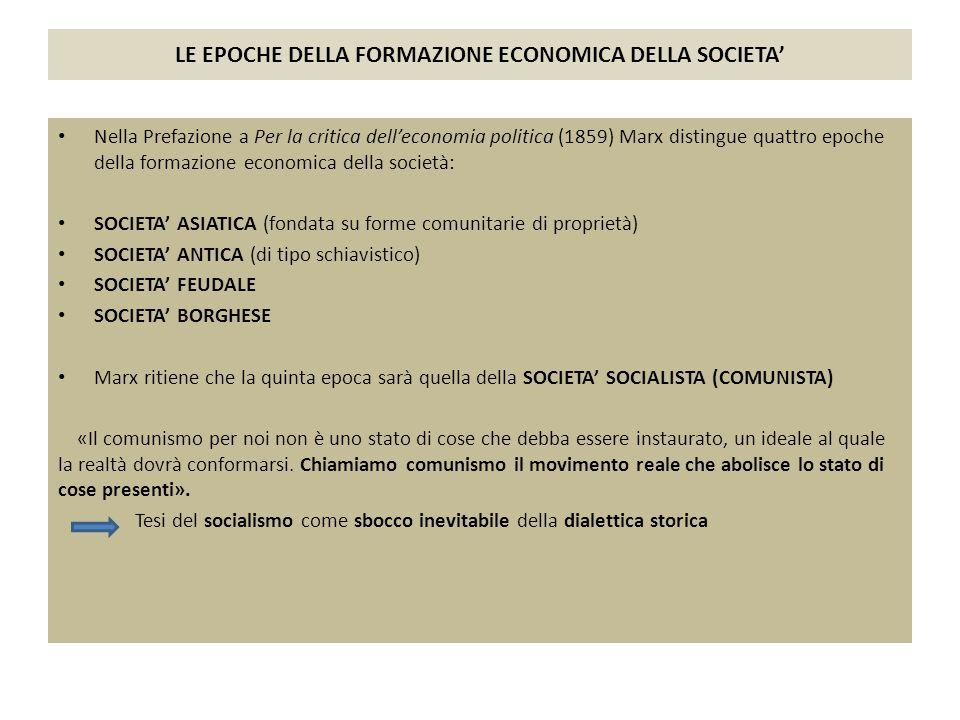 LE EPOCHE DELLA FORMAZIONE ECONOMICA DELLA SOCIETA'