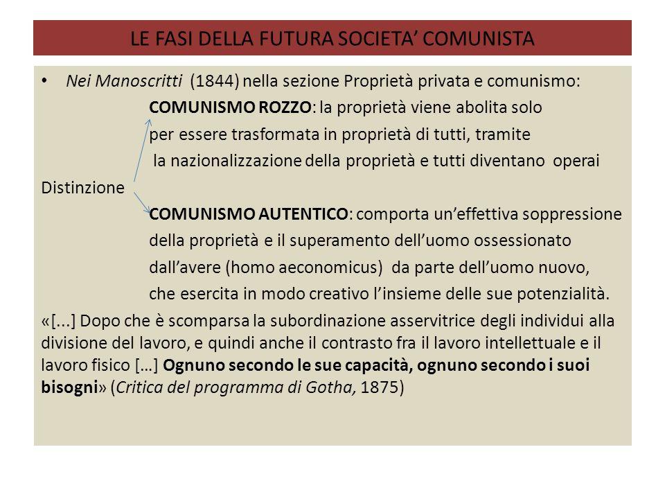 LE FASI DELLA FUTURA SOCIETA' COMUNISTA