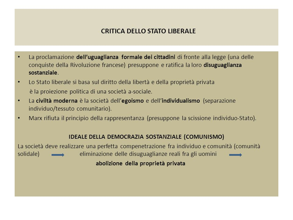 CRITICA DELLO STATO LIBERALE