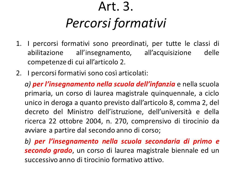 Art. 3. Percorsi formativi