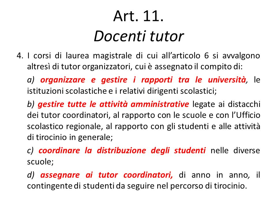 Art. 11. Docenti tutor