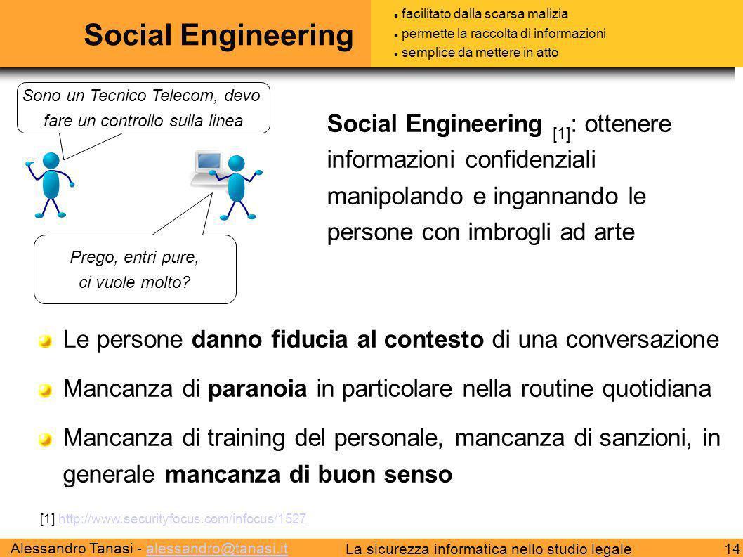 Social Engineering facilitato dalla scarsa malizia. permette la raccolta di informazioni. semplice da mettere in atto.