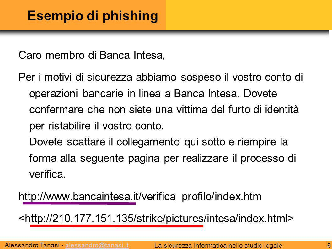 Esempio di phishing Caro membro di Banca Intesa,