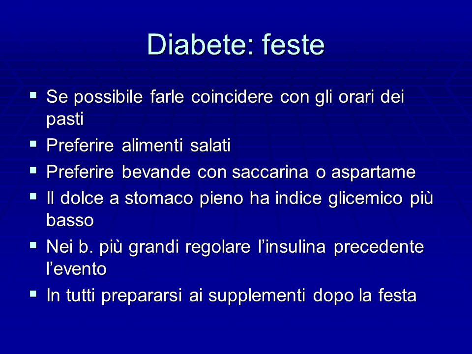 Diabete: feste Se possibile farle coincidere con gli orari dei pasti
