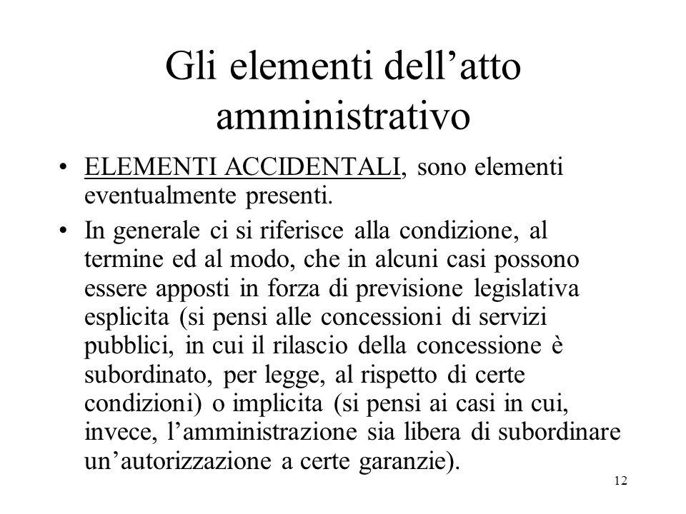 Gli elementi dell'atto amministrativo