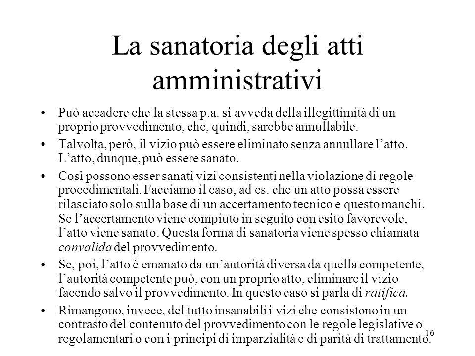 La sanatoria degli atti amministrativi