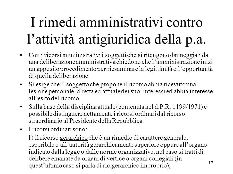 I rimedi amministrativi contro l'attività antigiuridica della p.a.