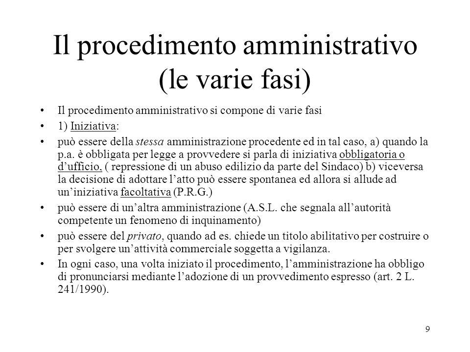 Il procedimento amministrativo (le varie fasi)